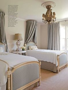 twin beds with canopy. grey, white, and soft blush. simplified French style. custom draperies available DesignNashville.com shipping world wide.