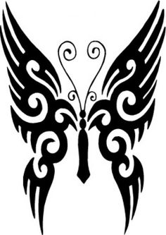 Butterfly tattoo free vector - Free vector image in AI and EPS format. Tribal Tattoos, Tribal Butterfly Tattoo, Butterfly Drawing, Butterfly Tattoo Designs, Stencil Templates, Stencil Patterns, Stencils, Logo Animal, Neue Tattoos