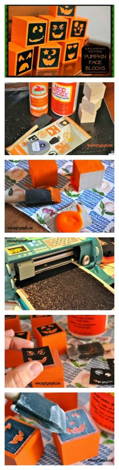 Halloween in a Hurry: Quick and Easy Mod Podge Pumpkin Face Blocks