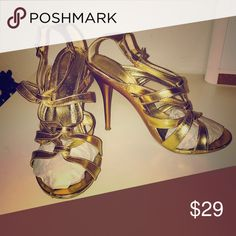 Cathy Jean Gold Strappy Heels Cathy Jean Gold Strappy Heels are very versatile and can be worn with any color or fabric. I wore ONCE for a wedding - they are beautiful and look so beautiful on the foot. 💎💎💎 They don't picture well but look beautiful on 💘 Nordstrom Shoes Heels
