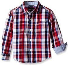 Nautica Boys' Long Sleeve Multi Plaid Shirt with Chambray Trim * You can get additional details at