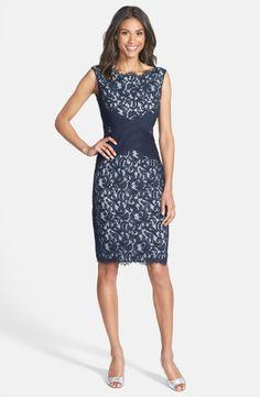 Crisscross Waist Lace Sheath Dress