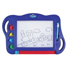 Reusable magnetic drawing board. Easy write pen and 4 magnetic shapes for endless creative fun.