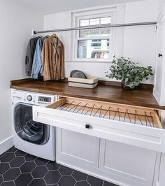 """Chaos Cleared® LLC on Instagram: """"Can you say #laundryroomgoals 🤤 . . 📸: Pinterest . . . . . #linencloset #laundryroomorganization #laundryroom #closetgoals…"""" Modern Laundry Rooms, Laundry Room Layouts, Mudroom Laundry Room, Laundry Room Remodel, Laundry Room Organization, Laundry In Bathroom, Laundry Room Drying Rack, Laundry Room Floors, Vintage Laundry Rooms"""