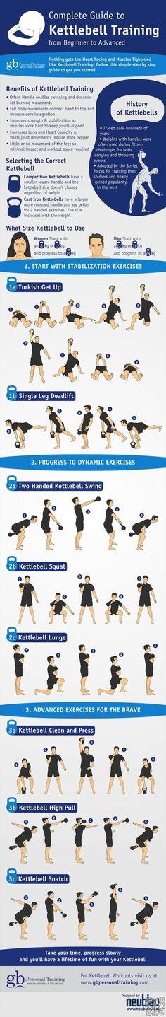 17. #Kettlebells - 19 meilleur #exercice infographie pour #votre corps #parfait... → #Fitness