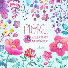 Floral Watercolour Clipart Violet: 40 Elements. por OctopusArtis