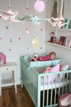 Lovely mobile decor, moKee Mini Dusty Aqua and a little girl