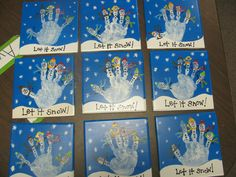 Handprints I made for the parents in my preschool class as a gift for Christmas.