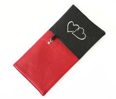livret de famille : étui simili cuir rouge et noir coeur étoile, housse livret famille : Etuis, mini sacs par kipapee