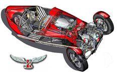JZR 3 wheel car build with Moto Guzzi Vtin engine.