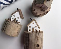 Set of Five Little Wooden Houses Wood Cottage Sculpture Wooden House Driftwood house Easter Decor Gift Mom Small Wooden House, Wooden Cottage, Wooden Houses, Barn Wood Crafts, Driftwood Crafts, Wooden Gifts, Handmade Wooden, Etsy Crafts, Home Crafts