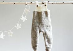 Hand Knitted Overalls, Knitted Jumpsuit, Grey Babysuit