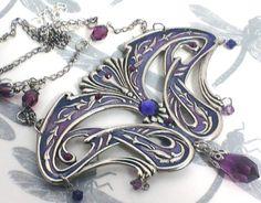 Art Nouveau Amethyst Peacock necklace, crystal, enamel, handpainted jewellery, art nouveau pendant, whiplash design