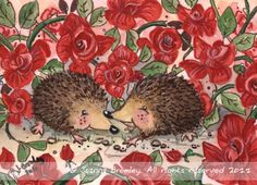 ACEO Hedgehogs Valentine by JoannaBromley on deviantART