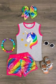 US Girls 2 PC Shorts Set Toddler Baby Kids Clothing Unicorn Sequin Shorts Outfit… US Girls 2 PC Shorts Set Kleinkind Baby Kinder Kleidung Einhorn Pailletten Shorts Outfit Tag Little Girl Outfits, Kids Outfits Girls, Little Girl Fashion, Toddler Girl Outfits, Kids Fashion, Toddler Fashion, Toddler Girls, Cheap Kids Clothes, Cute Baby Clothes