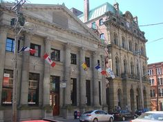 A photograph of the former Bank Of New Brunswick on Prince William Street in Saint John, New Brunswick. Built in 1876