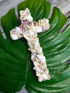 Seashell Cross/Pink Baptism Christening Cross/Cradle Cross/Nursery Wall Decor by MyHoneypickles on Etsy
