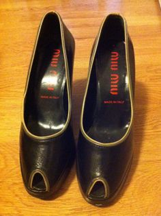 Miu Miu black peep toe high heels pumps shoes leather size 6 US by…