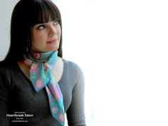 "100% silk scarf turquoise aqua square ""Serious Business"""
