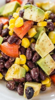 Avocado, Black Bean and Corn Salad with Lime-Cumin Vinaigrette - Everything tastes better with avocado!! Easy, healthy and tons of flavor! (Great summer salad because there's no mayo!) #CincoDeMayo