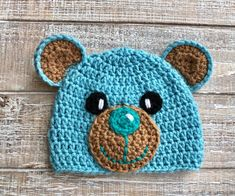 Excited to share this item from my shop: Crochet Pattern Only - Crochet Teddy Bear Hats for Girls and Boys - Children's Teddy Crochet Hat - Infant Teddy Crochet Hat Knitted Teddy Bear, Crochet Teddy Bear Pattern, Crochet Patterns Amigurumi, Crochet Dolls, Teddy Bears, Crochet Hats For Boys, Crochet Baby Hats, Puff Stitch Crochet, Crochet Character Hats