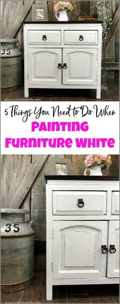 Curious how to paint furniture white Is there a secret to painting white furniture This cabinet is given a white painted furniture makeover. these 5 tips to painting furniture white for a result you will love. Farmhouse Furniture, Home Decor Furniture, Shabby Chic Furniture, Furniture Makeover, Vintage Furniture, Furniture Stores, Furniture Removal, Cheap Furniture, Furniture Projects