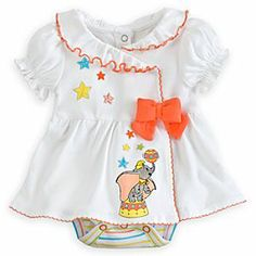 Disney Dumbo Bodysuit for Baby   Disney StoreDumbo Bodysuit for Baby - Dumbo pays a flying visit to this bodysuit as he shows off some of his ball skills. The pretty dress features embroidered artwork and bow, and comes attached to the hooped bodysuit with its Grown-An-Inch snaps.