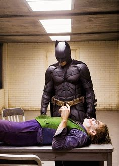 Christian Bale and Heath ledger in Batman The Dark Knight (2008)