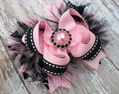 Pink and Black Bow Fluffy Stacked Boutique Bow with Pink Pearl Rhinestone Center