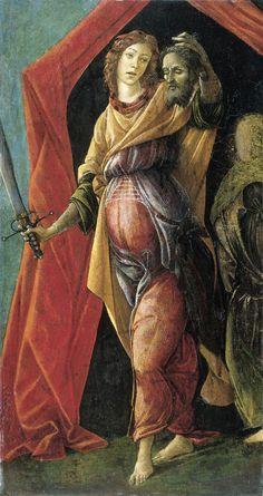 Sandro Botticelli, Giuditta e Oloferne, tempera su tavola, Rijksmuseum, Amsterdam.  A seguito del restauro a destra è stata riportata in luce l'ancella che era stata coperta da una ridipintura. Purtroppo la figura originale nella sua interezza è ormai perduta. (https://art4arte.wordpress.com/2014/01/16/botticelli-e-la-giuditta/)
