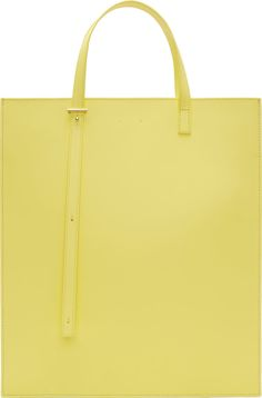 PB 0110 - Yellow Matte Leather Structured Tote Bag