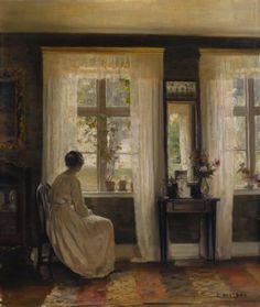 A Lady in an Interior. Carl Vilhelm Holsoe (1863-1935). Oil on canvas, 48.2 x 40cm.