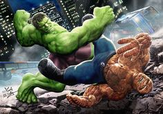 #Hulk #Fan #Art. (Hulk Vs Thing) By: Wobblyone. (THE * 5 * STÅR * ÅWARD * OF: * AW YEAH, IT'S MAJOR ÅWESOMENESS!!!™) ÅÅÅ+
