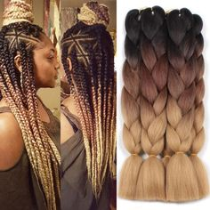 Xtrend ombré three tone hair Synthetic Crochet Jumbo Braids Rainbow Hair Kanekalon Colorful Hair Ombre Braiding Hair Extensions hair box braids is part of braids - pack Can Be Permed No Short Box Braids, Blonde Box Braids, Ombre Box Braids, Jumbo Braids, Box Braid Hair, Short Hair, Long Hair, Colored Box Braids, Braids With Color