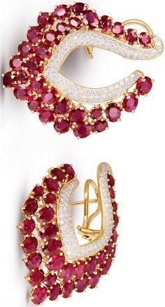 Rosamaria G Frangini | High Red Jewellery | Gold Earrings, Ruby and Diamonds via Farah Khan