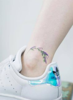 Ankle Tattoos Ideas for Women: Lavender Sprig Ankle Tattoo
