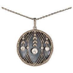 Edwardian brilliant and rose cut diamond enamel pendant