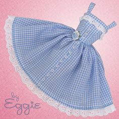 Gingham Girl - Vintage Barbie Doll Dress. Reproduction Repro Barbie Clothes.