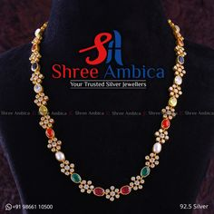 Shimmering Necklace with semi precious stones, CZ diamonds in 92.5 Silver from Shree Ambica - Your Trusted Jewellers Readily available in stock Call/WhatsApp - +91986611050 Silver Jewellery, Beaded Necklace, Diamonds, Stones, Jewels, Stuff To Buy, Collection, Beaded Collar, Rocks