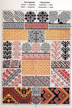 FolkCostume&Embroidery: Ukrainian and Romanian embroidery of Bukovyna-Bucovina Blackwork Embroidery, Folk Embroidery, Cross Stitch Embroidery, Embroidery Patterns, Cross Stitch Borders, Cross Stitch Patterns, Palestinian Embroidery, Cross Hatching, Knitting Charts