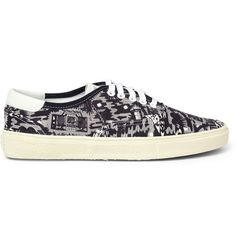 Saint Laurent Printed Canvas and Leather Sneakers | MR PORTER