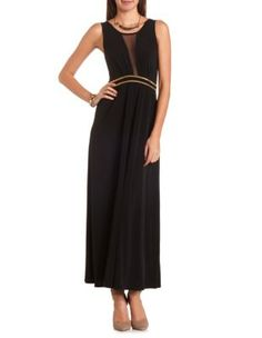 studded mesh inset maxi dress