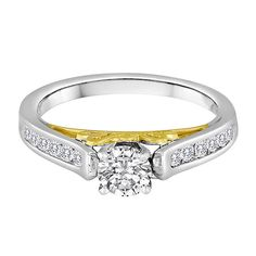 3/4 ct. tw. Diamond Engagement Ring in 14K White & Yellow Gold