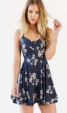 Long Walk Home Navy Blue White Floral Spaghetti Strap V Neck Backless Chiffon Skater Circle A Line Flare Mini Dress