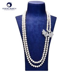 [YS] Fashion New Design Freshwater Cultured Pearl Sweater Necklace Free shipping