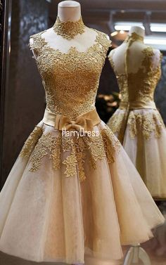 Gold High Neck Tulle Appliques Lace Inexpensive Knee Length Cocktail Dress