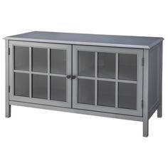 Windham Media Cabinet Stands Living Room Media Center Blue or Gray Console Storage, Tv Storage, Media Storage, Record Storage, Tv Stands, My Living Room, Living Room Furniture, Tv Stand Cabinet, Double Glass Doors