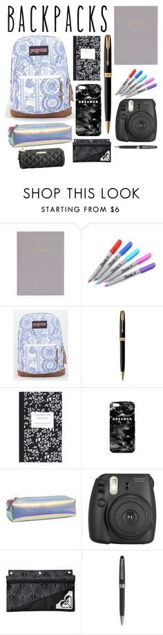"""""""BackPacks"""" by fangirl-selina ❤ liked on Polyvore featuring Sugar Paper, Sharpie, JanSport, Parker, Dot & Bo, Mr. Gugu & Miss Go, Fujifilm, Roxy, Montblanc and Betsey Johnson"""
