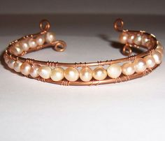 Pure Copper and Freshwater Pearls Wire Wrapped Cuff Bracelet  #Handmade #Cuff