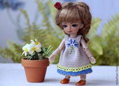 Одежда для кукол ручной работы. Платье  связаное крючком   для БЖД куклы худжик  14 см. Creativhook. Интернет-магазин Ярмарка Мастеров.